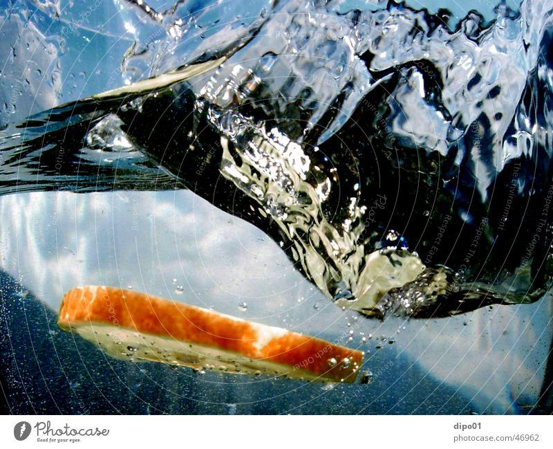 der untergang der orange Wasser Himmel blau Wolken Berge u. Gebirge Bewegung Luft Horizont tauchen untergehen Kollision