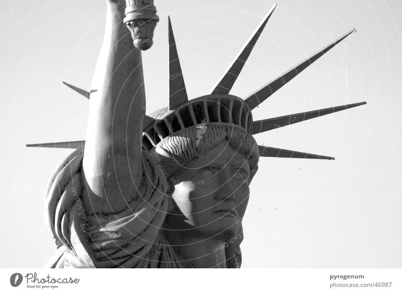Wie frei kann eine Statue sein? weiß schwarz New York City Kopf Stein Metall hoch Amerika Wahrzeichen Bekanntheit Zacken Freiheitsstatue