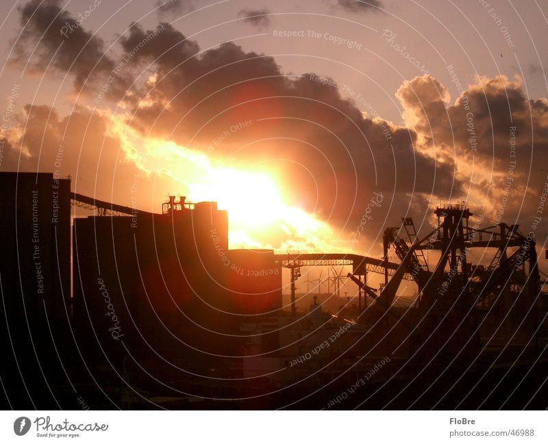 Sonnenuntergang im Hafen Sonne Freude Wolken Freiheit Hoffnung Fabrik Hafen