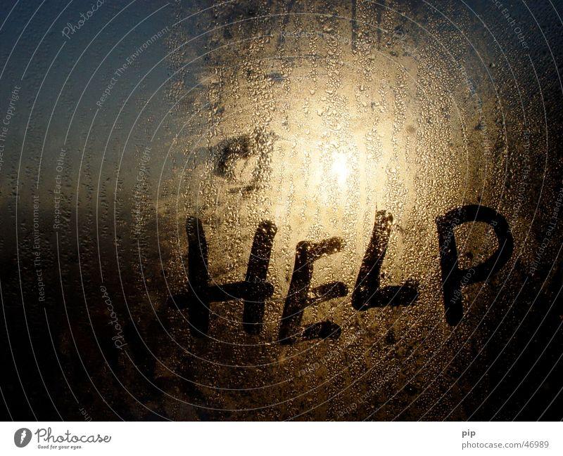 help Fenster nass Wassertropfen kalt Typographie Verzweiflung Angst Sorge Schüchternheit Schrecken Trauer Todesangst Einsamkeit notleidend Warnsignal Zwickmühle