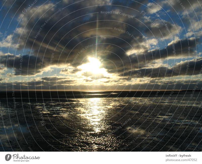 Darkgrey sunrise Wasser schön Sonne Freude Meer Wolken Ferne Freiheit Landschaft Stimmung hell Deutschland Horizont nass glänzend frei