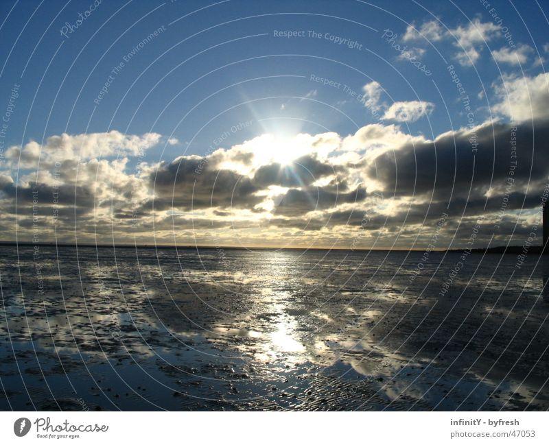 Callfor Sunrise Wasser schön Sonne Freude Meer Wolken Ferne Freiheit Landschaft Stimmung hell Deutschland Horizont nass glänzend frei