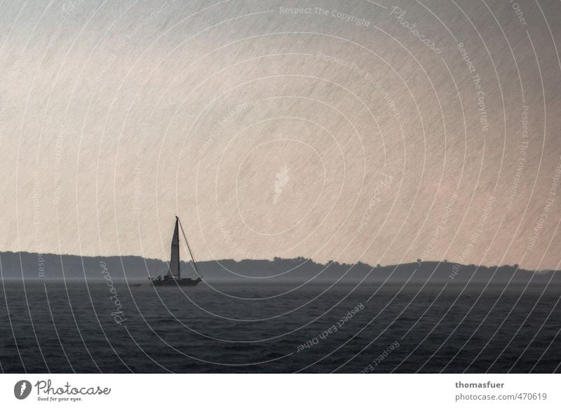 nordischer Sommer Ferien & Urlaub & Reisen Wasser Meer Wolken Strand dunkel Wasserfahrzeug Horizont Regen Wellen Wind Insel nass Ausflug Bucht
