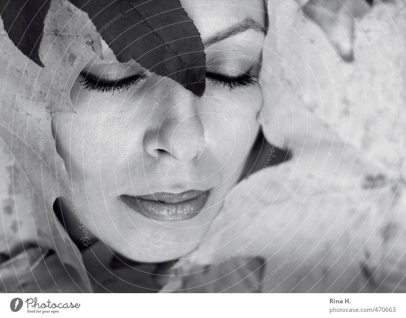 HerbstPortrait II schön Junge Frau Jugendliche 1 Mensch 30-45 Jahre Erwachsene Blatt Herbstlaub schlafen Jahreszeiten Gesicht Lippen Wimpern Schminke