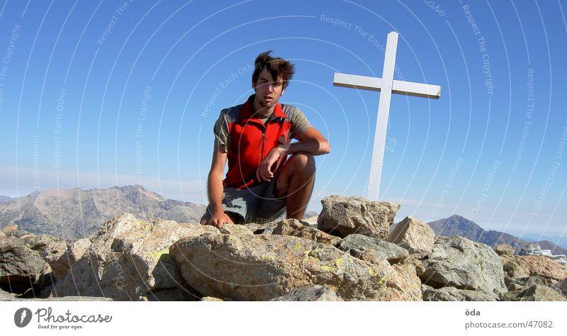 Gipfelsturm am Monte d'Oro Berge u. Gebirge Rücken Klettern Bergsteigen Korsika Gipfelkreuz Monte d'oro