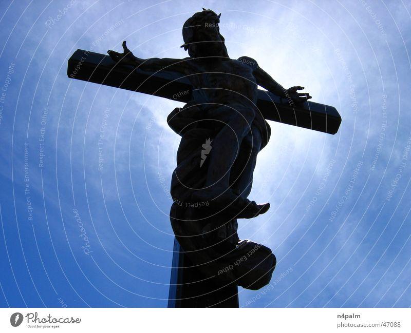 Kreuzesleid Himmel weiß Sonne blau schwarz Wolken Rücken Gipfel Jesus Christus blenden Bodensee Heiligenschein Bregenz
