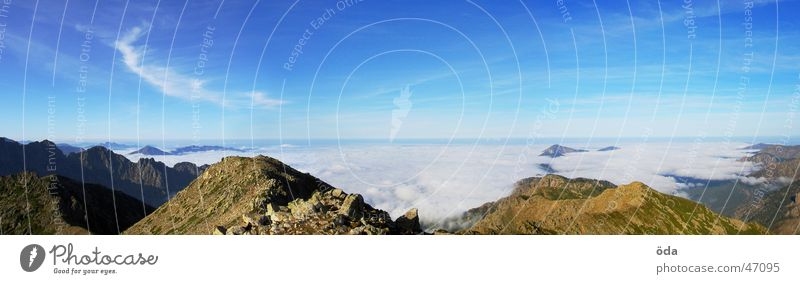 korsische Aussicht #3 Panorama (Aussicht) Nebel Wolken Horizont Meer Korsika Berge u. Gebirge Sonne gr20 groß Panorama (Bildformat)
