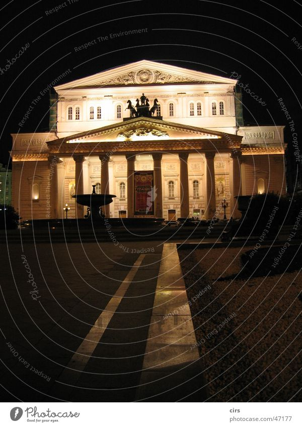 Bolchoj Theater at night Russland Oper Moskau