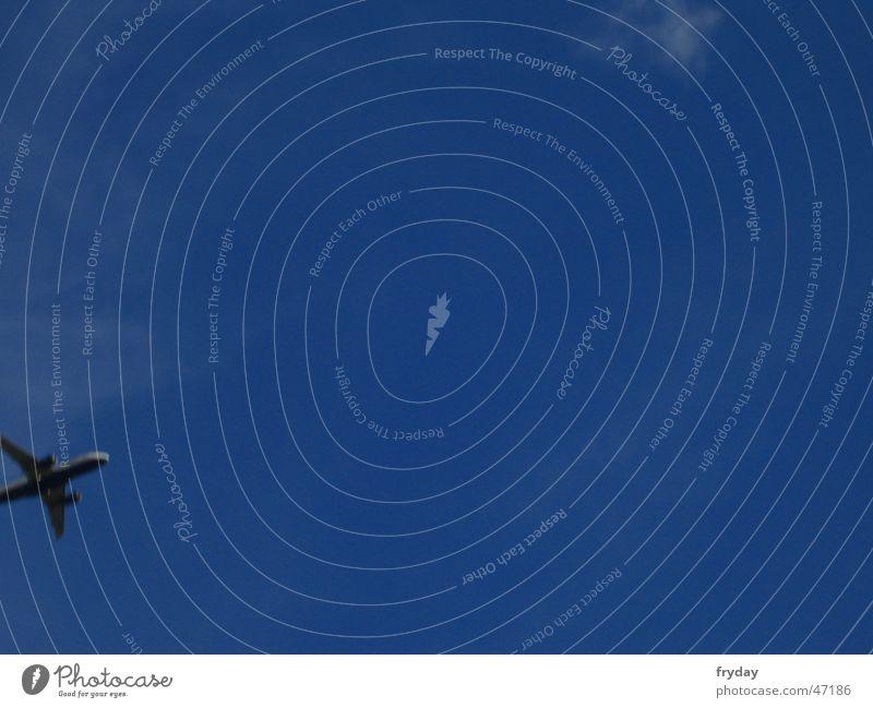 Departure Flugzeug Himmel blau Beginn Düsenflugzeug freie bahn