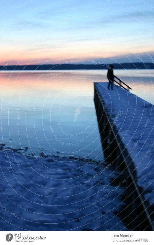 Starnberger See 2 Sonnenuntergang Steg Einsamkeit Abend Wasser Schnee schön