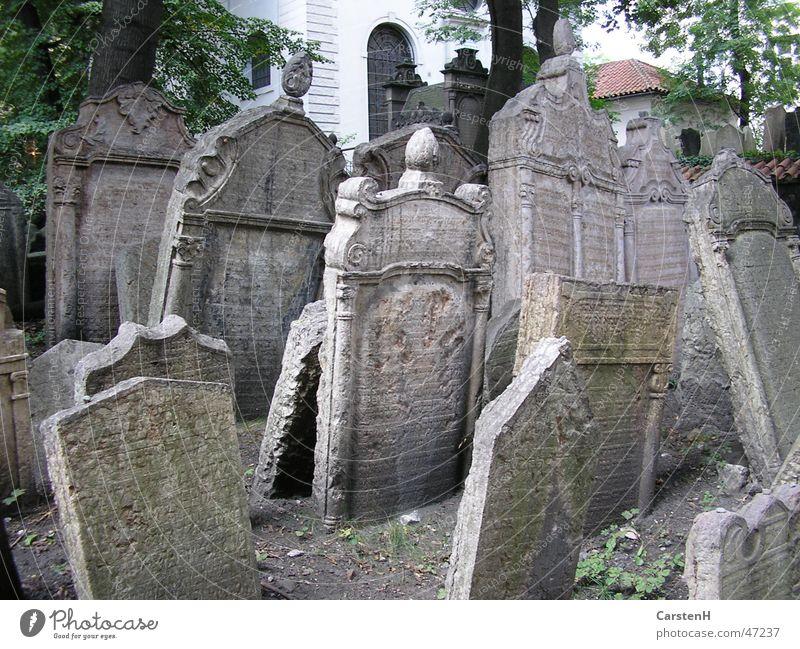 Friedhof Prag Judentum Grab Grabstein Stein Außenaufnahme Neigung viele alt Jüdischer Friedhof Menschenleer Erinnerung