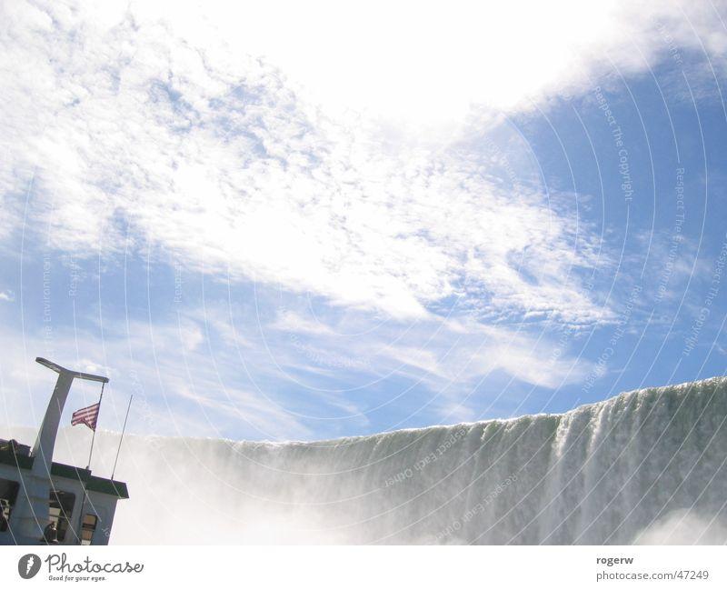 Das Boot Wasser Himmel Wolken Wasserfahrzeug Wasserfall Gischt Niagara Fälle