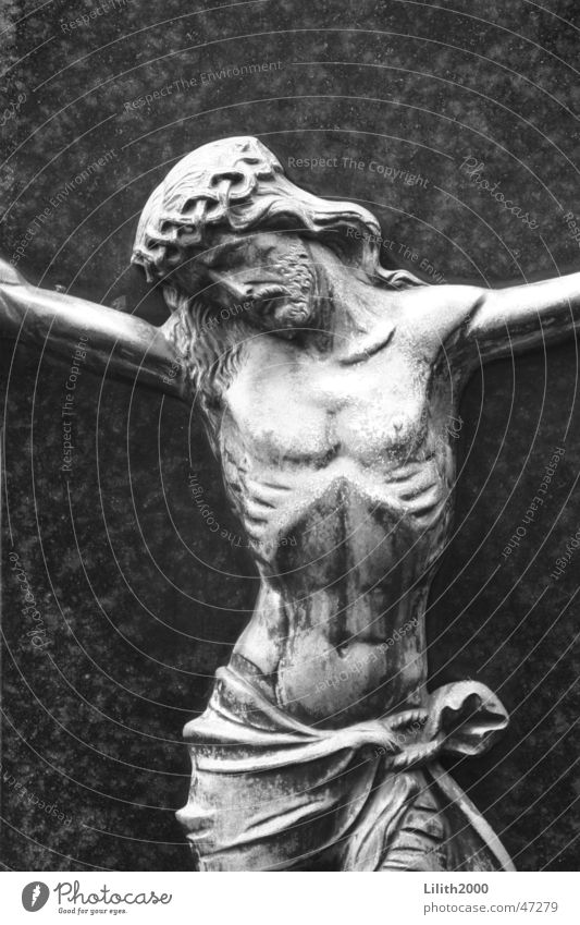 Friedhof 1 Jesus Christus Köln grau Dorn Grab Grabstein Religion & Glaube Rippen Schwarzweißfoto Marmor Traurigkeit