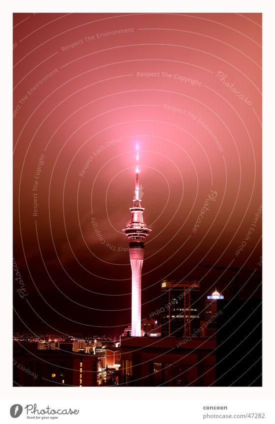 Auckland Skytower Lampe Nebel Niveau Turm glühen Neuseeland Auckland Südhalbkugel Sky Tower
