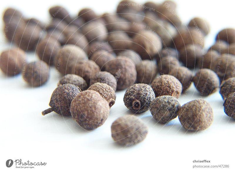Piment Korn Kräuter & Gewürze weiß Geschmackssinn getrocknet braun Kugel Pfeffer Natur Ernährung Gewürznelke