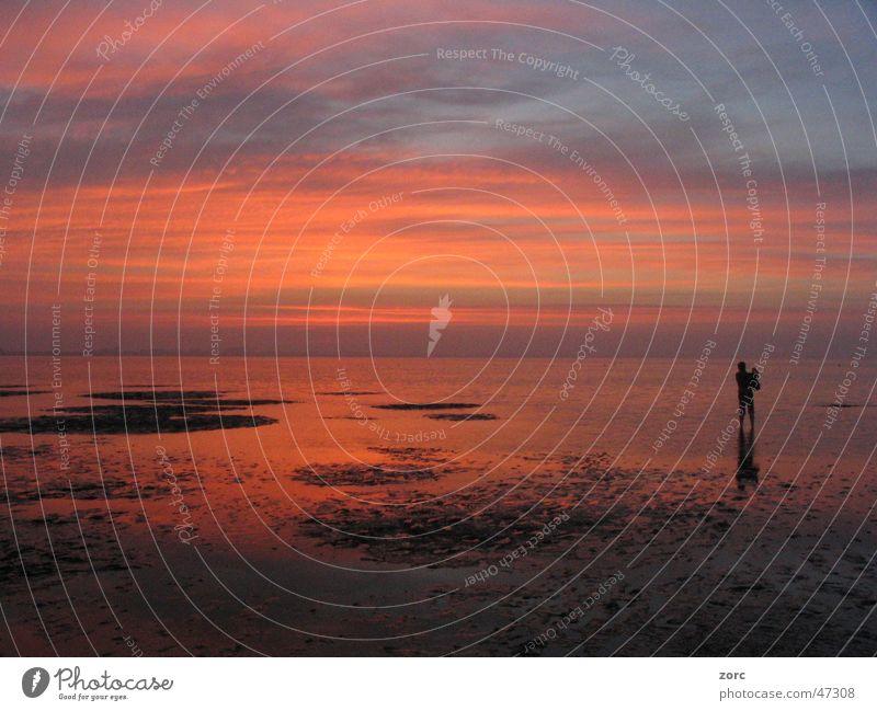 Nordsee Sonnenuntergang Einsamkeit ruhig Meer Strand Ferne