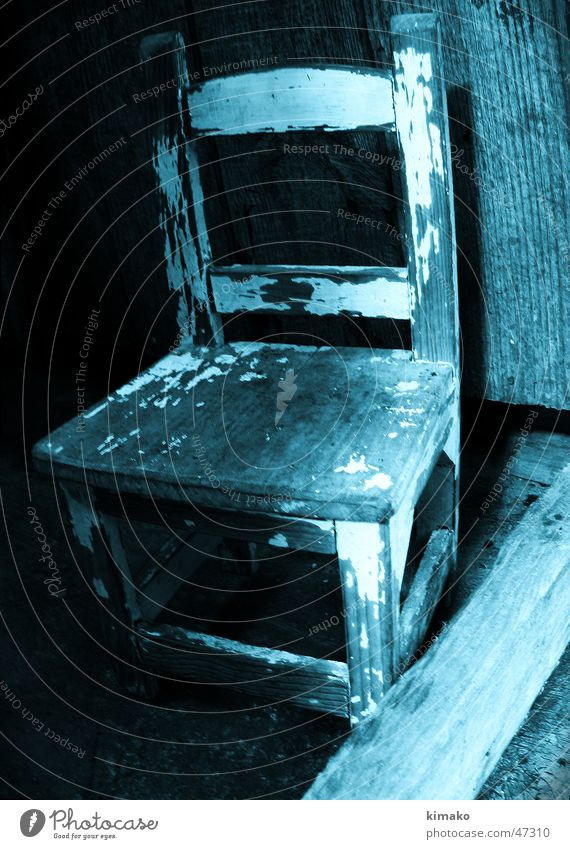 Stuhl alt blau Stuhl Dinge Cross Processing
