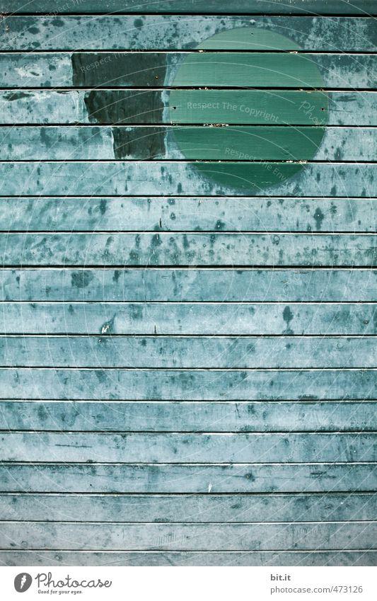 Punktsieg   der grüne Punkt blau alt Wand Mauer Architektur Holz Kunst Hintergrundbild Fassade Design Schilder & Markierungen Kreis Zeichen verfallen