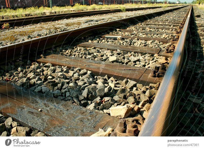 long way home Gleise Ferne alt lang Stil Holz Holzbrett Kieselsteine Stein Gras Wiese Sträucher weitläufig Ferien & Urlaub & Reisen wegfahren Außenaufnahme