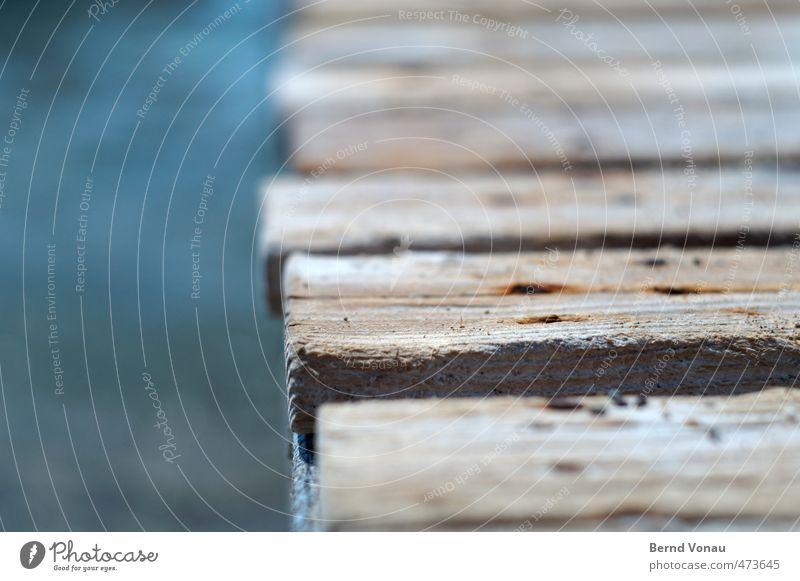 Alter Steg Ferien & Urlaub & Reisen Sommer Sommerurlaub Strand Meer alt blau braun grau grün schwarz weiß trocken Holzbrett Anlegestelle Nagel Rost Maserung