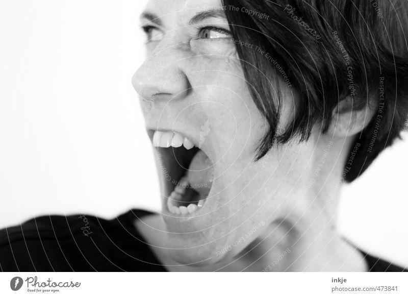 NEIN, bist Du NICHT!!!! Lifestyle Frau Erwachsene Leben Gesicht Zähne 1 Mensch 30-45 Jahre Kommunizieren schreien toben Aggression bedrohlich wild Wut Gefühle