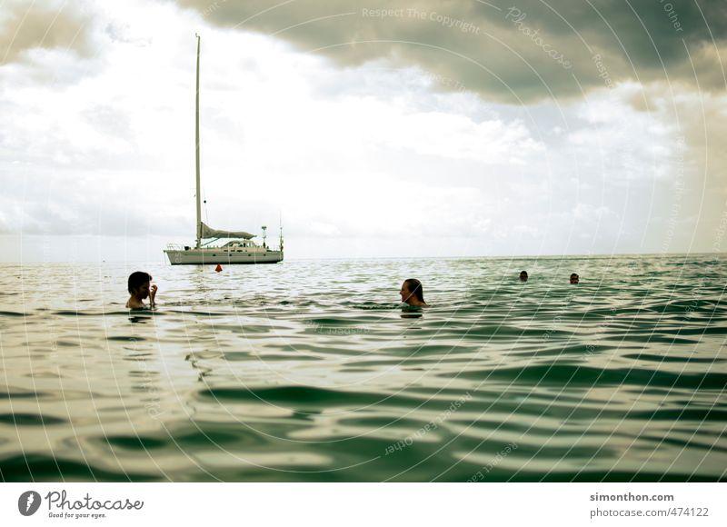 segelboot Reichtum Ferien & Urlaub & Reisen Tourismus Ausflug Abenteuer Ferne Freiheit Sommer Sommerurlaub Sonne Meer Wellen Einsamkeit bedrohlich