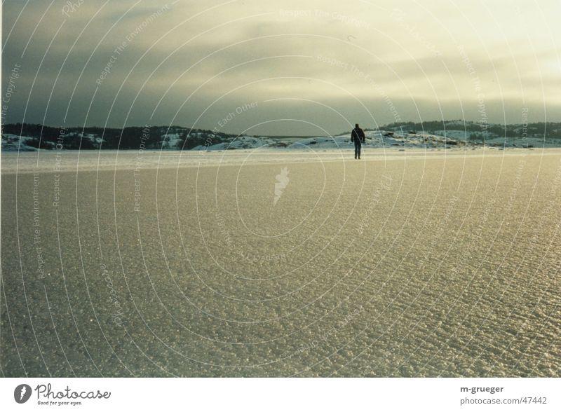 Spaziergänger auf dem Eis Meer Winter ruhig Einsamkeit Eis