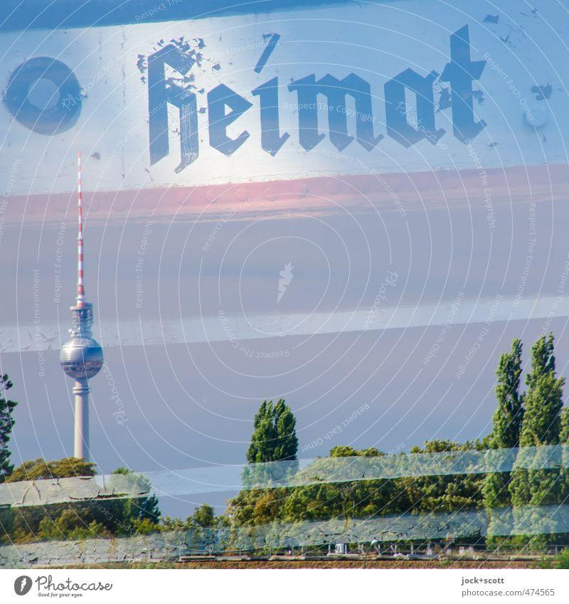 Heimathafen Sommer Wahrzeichen Berliner Fernsehturm Schifffahrt Stahl Streifen historisch Stimmung Bordwand Doppelbelichtung altmodisch Zahn der Zeit