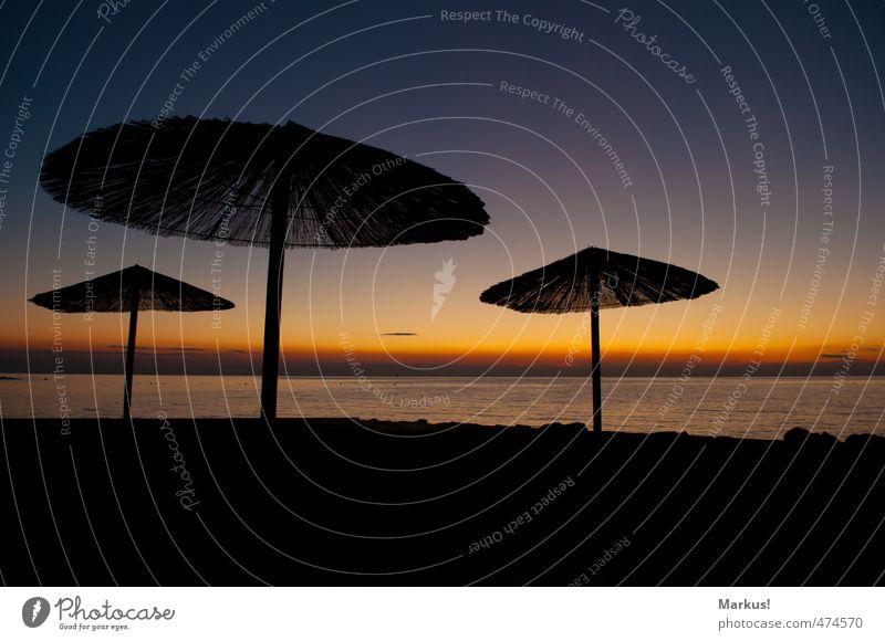 Sonnenschirm exotisch Glück Ferien & Urlaub & Reisen Meer Natur Himmel Wolkenloser Himmel Horizont Sonnenaufgang Sonnenuntergang Sommer Schönes Wetter Wärme