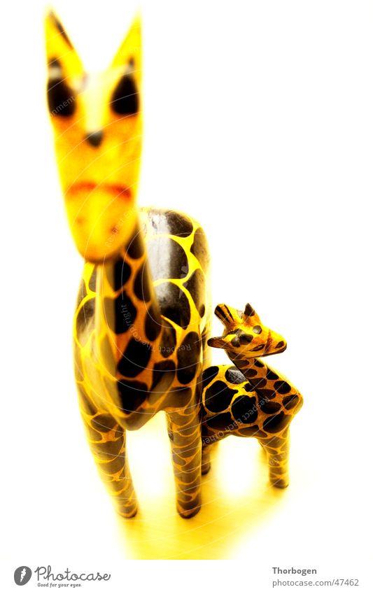 Safari 2 schwarz Tier gelb Holz Afrika Giraffe Holzfigur Schnitzereien