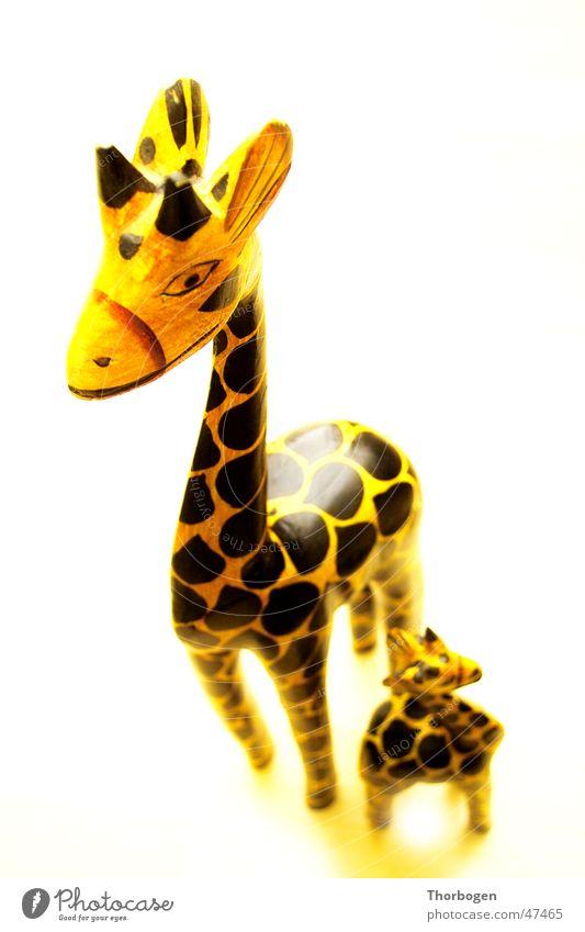 Safari 4 schwarz Tier gelb Holz Afrika Giraffe Holzfigur Schnitzereien