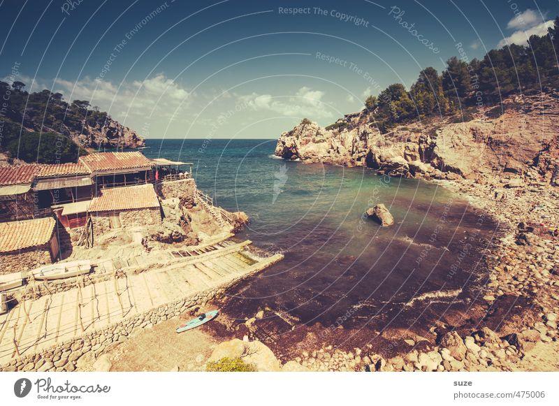 Cala Deià Himmel Natur Ferien & Urlaub & Reisen Sommer Meer Landschaft Strand Umwelt Berge u. Gebirge Küste Felsen Idylle fantastisch Bucht Hütte Spanien