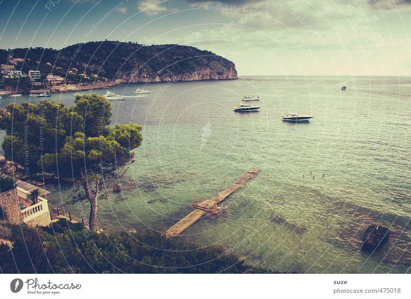 Sein wie das Meer Erholung ruhig Ferien & Urlaub & Reisen Sommer Sommerurlaub Natur Landschaft Wasser Himmel Wolken Schönes Wetter Baum Küste Bucht Insel Hafen