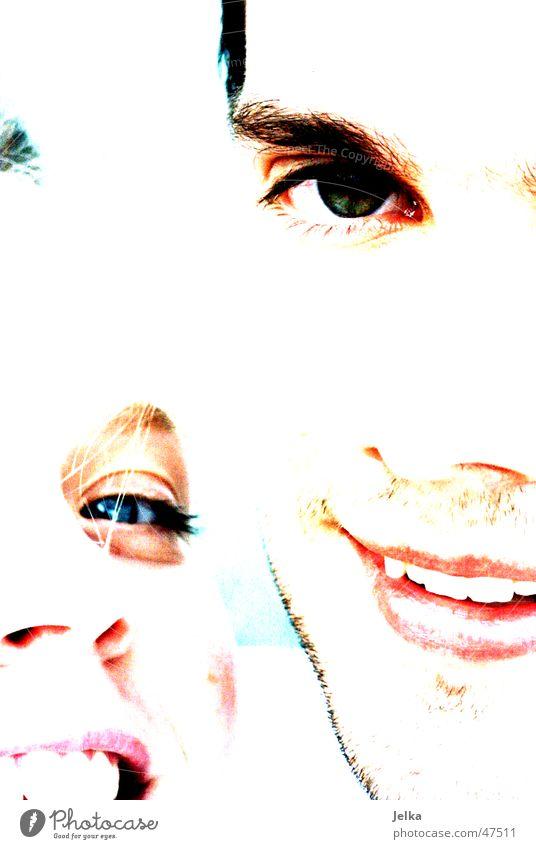 white Gesicht Frau Erwachsene Mann Auge Nase Mund Lippen Bart Lächeln lachen Fröhlichkeit Glück weiß Augenbraue man boy woman light face faces eye eyes nose