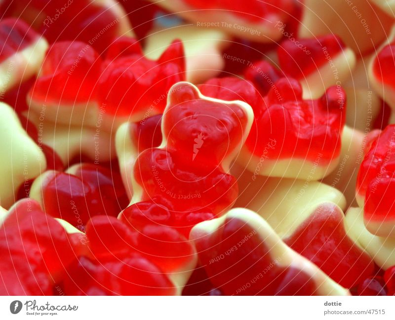 Bärchenhaufen rot Ernährung gelb süß lecker Süßwaren Bär Haufen Gummibärchen