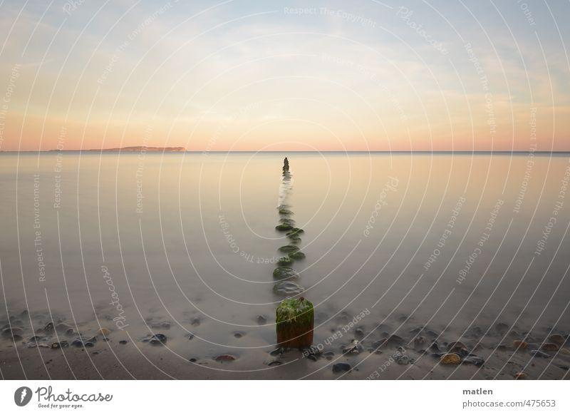 Milchstrasse Himmel grün Wasser Landschaft Strand Herbst Küste grau Sand Horizont braun rosa Wetter Schönes Wetter Ostsee Wolkenloser Himmel