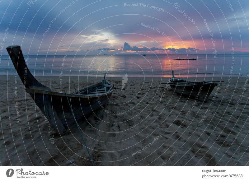 ANKOMMEN Natur Ferien & Urlaub & Reisen Wasser Meer Erholung ruhig Wolken Strand Reisefotografie Wasserfahrzeug Horizont Idylle Asien Postkarte Thailand Glätte