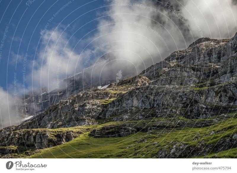 Heisse Quellen am Eiger Natur Landschaft Himmel Wolken Sommer Schönes Wetter Felsen Alpen Berge u. Gebirge Gipfel Schneebedeckte Gipfel blau grün weiß Schweiz