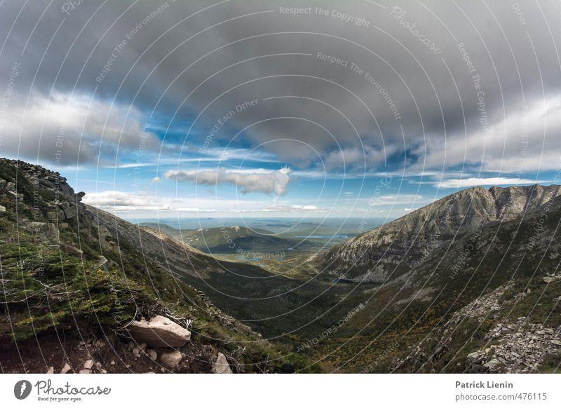 Wide World Umwelt Natur Landschaft Urelemente Luft Himmel Wolken Herbst Klima Wetter Schönes Wetter Wind Pflanze Baum Wald Felsen Berge u. Gebirge Gipfel