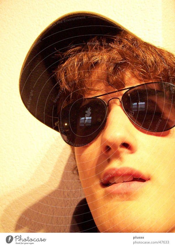 sunlook Baseballmütze Mütze Brille Sonnenbrille Sechziger Jahre braun Licht gelb Physik Stil Freak verrückt Mann Jugendliche Gesicht kappe Nase Mund