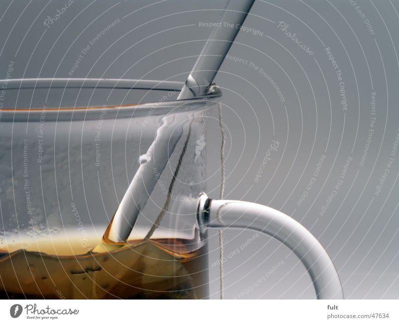 Tee Time Wasser ruhig braun Glas Wassertropfen trinken rund Dinge Schnur durchsichtig Griff Nähgarn Stab Wasserdampf Löffel