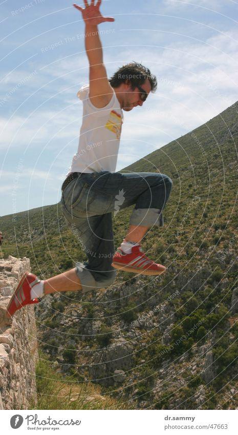Super Sam Mann springen Stunt sportlich