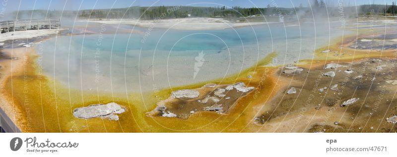 Yellowstone 1 Wasser gelb Wärme Landschaft groß USA Panorama (Bildformat) Nationalpark Geysir Yellowstone Nationalpark