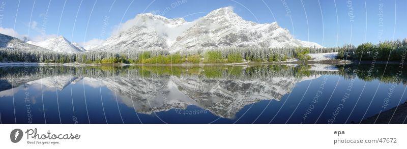September in Kanada 2 Nationalpark Ferien & Urlaub & Reisen Panorama (Aussicht) Reflexion & Spiegelung See sepember Schnee Sonne Wasser Himmel blau