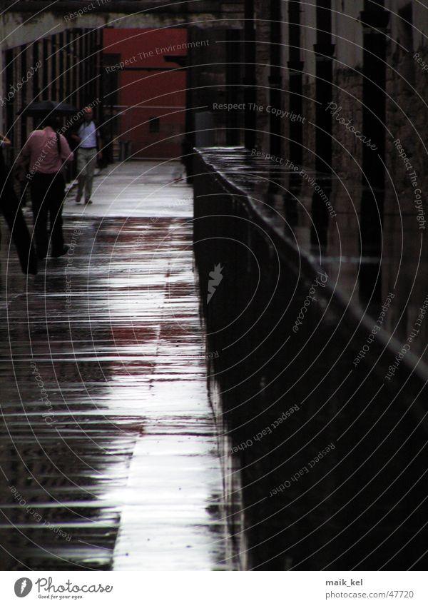 """""""Durch diese hohle Gasse muss er kommen..."""" schwarz dunkel Wege & Pfade Regen glänzend nass Bodenbelag feucht"""