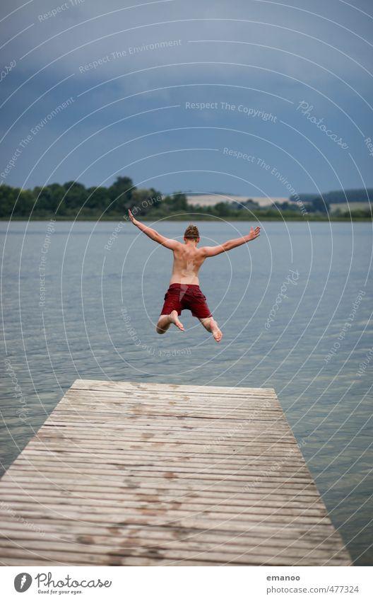 der Uckerflieger Mensch Natur Jugendliche Ferien & Urlaub & Reisen Wasser Sommer Landschaft Freude Wolken Junger Mann kalt Küste Freiheit Holz Schwimmen & Baden