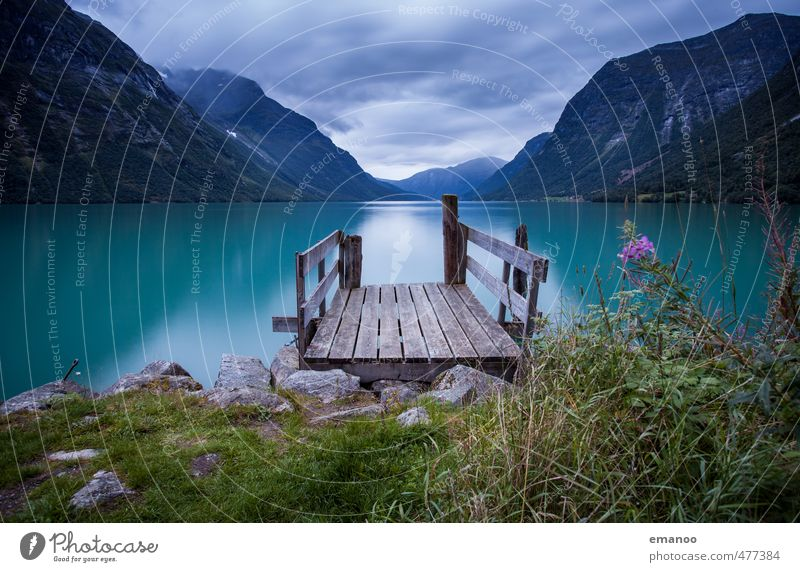 norway harbor Natur Ferien & Urlaub & Reisen schön grün Wasser Pflanze Landschaft Wolken Ferne kalt Berge u. Gebirge Küste Freiheit See Felsen Wetter