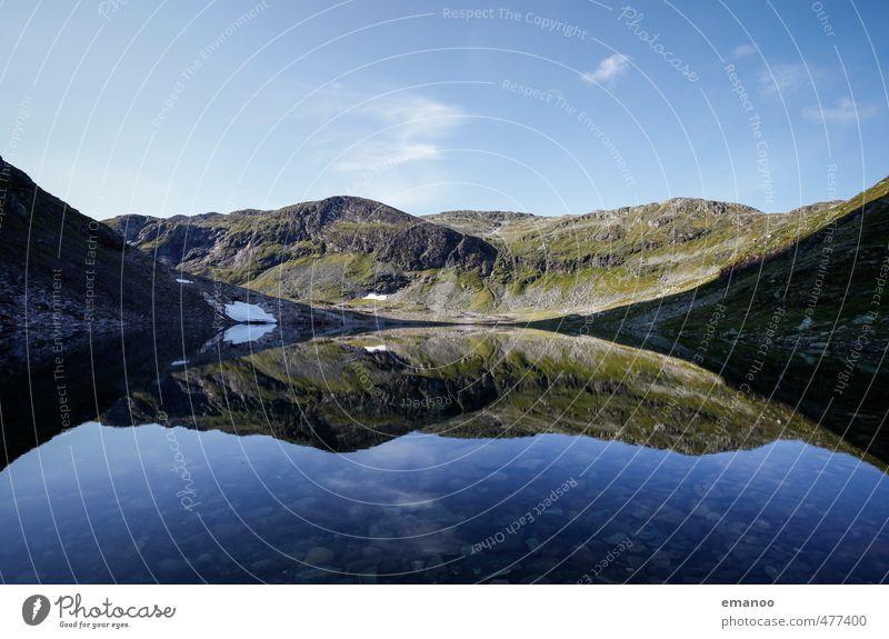 Auf Spiegelbergen Himmel Natur Ferien & Urlaub & Reisen blau Wasser Sommer Landschaft kalt Berge u. Gebirge Schnee See Felsen Horizont Wetter Tourismus wandern