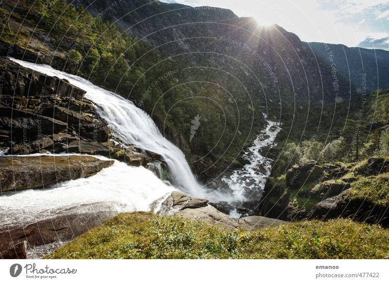 Husendalen Himmel Natur Ferien & Urlaub & Reisen grün Wasser Sommer Sonne Landschaft Ferne Berge u. Gebirge natürlich Felsen Regen Nebel Tourismus wandern