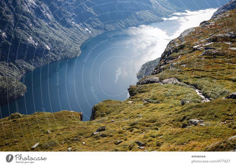 Fjordland Natur Ferien & Urlaub & Reisen Wasser Pflanze Sommer Landschaft Ferne Berge u. Gebirge Gras Küste Freiheit See Wetter Tourismus wandern hoch